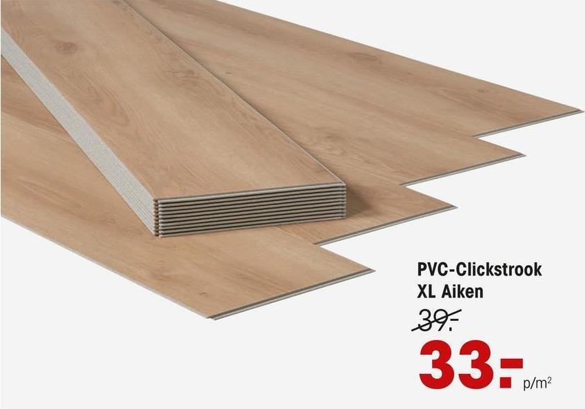 Pvc Click Xl Strook Aiken Eiken Extra brede PVC clickstrook met eiken kleur en houtdessin. Geschikt voor intensief gebruik. 5 mm dik.