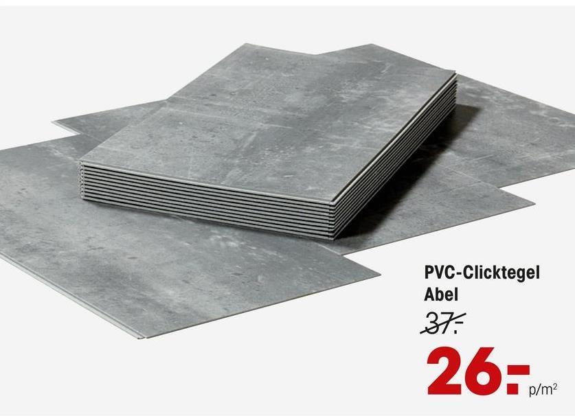 Pvc Click Tegel Abel PVC tegel met stoere betonlook. Ook geschikt voor intensief woongebruik. 4,5 cm dik. 1,7514 m2 per pak.