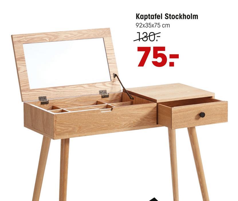 Kaptafel Stockholm Naturel Kaptafel van MDF in naturel kleur. Hout beschikt over FSC kenmerk. 32x92x75 cm (lxbxh).