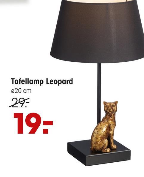 Tafellamp Leopard Zwart Zwarte tafellamp van metaal met luipaard beeldje. Fitting E27, exclusief. Maximaal 40 watt. 24x39 cm (dxh).