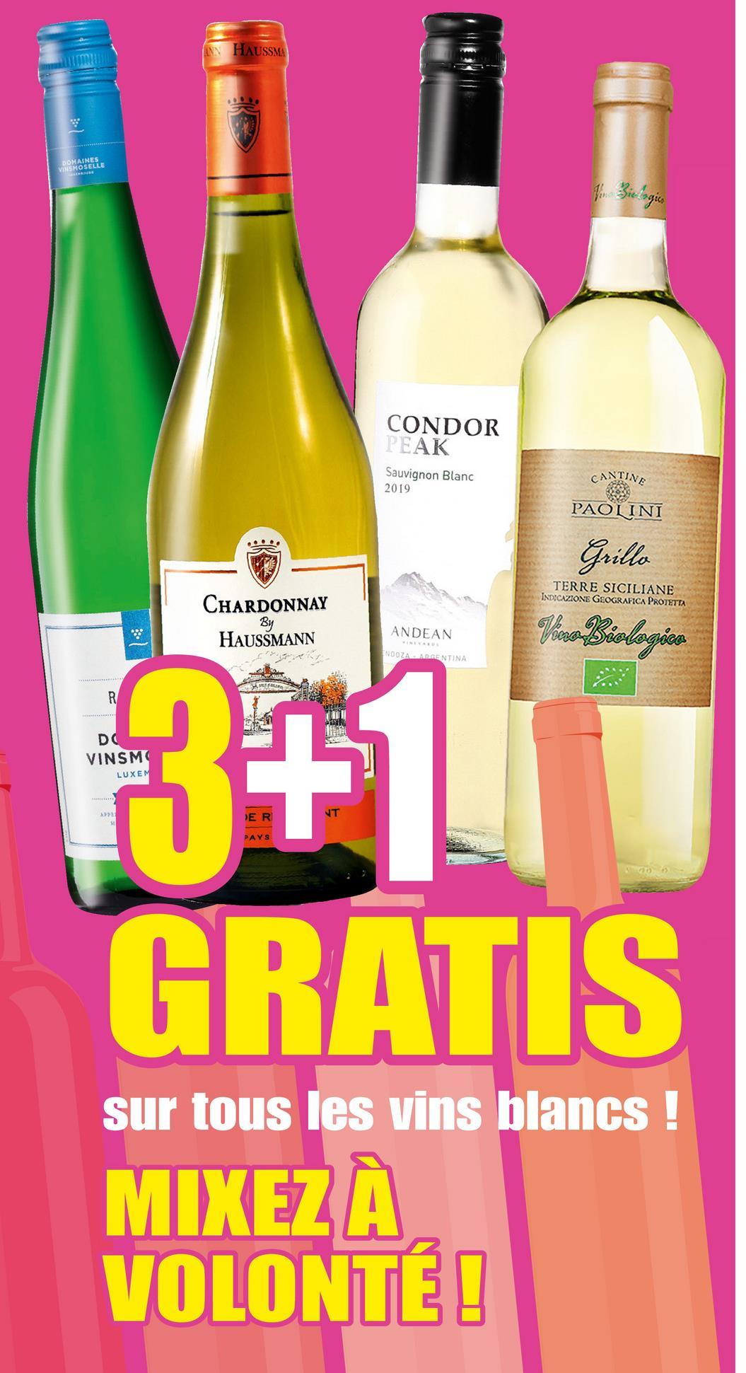 ANN HAUSSMA DOMAINES VINSMOSELLE Biologico CONDOR PEAK Sauvignon Blanc 2019 CANTINE PAOLINI Grillo TERRE SICILIANE INDICAZIONE GEOGRAFICA PROTETTA CHARDONNAY By HAUSSMANN ANDEAN Viro Biologica NDOZA RENTINA R DC VINSMO LUXEM + >> 3+1 GRATIS sur tous les vins blancs ! MIXEZ À VOLONTÉ!