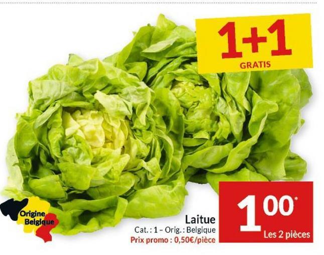 1+1 GRATIS Origine Belgique 100 Laitue Cat.: 1 - Orig.: Belgique Prix promo : 0,50€/pièce Les 2 pièces