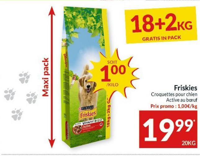 18+2KG GRATIS IN PACK SOIT Maxi pack 100 KILO Friskies Croquettes pour chien Active au beuf Prix promo : 1,00€/kg WPURINA Friskies 18kg+2kg 6 VITAFIT 300 Active 1999 20KG