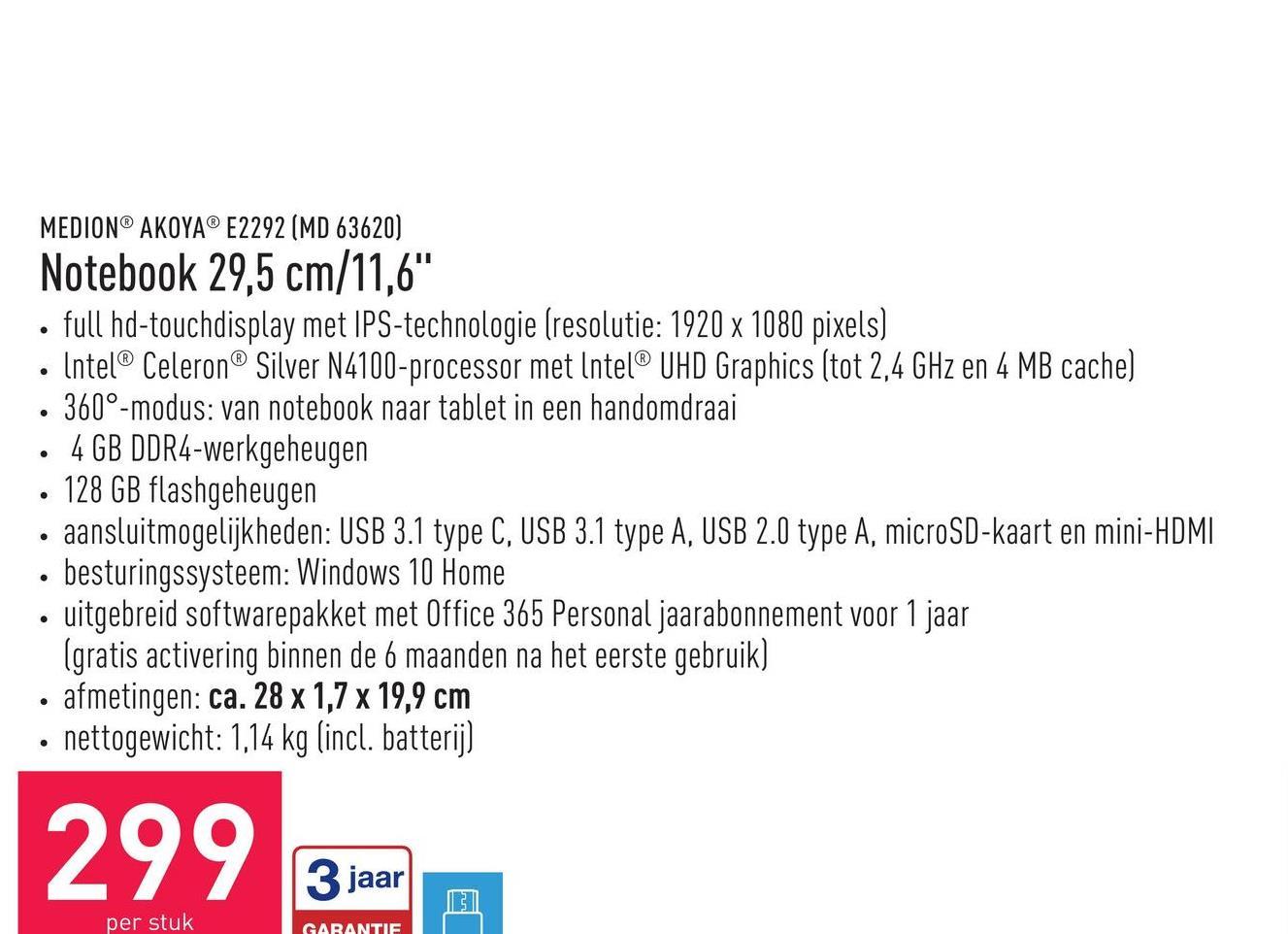 """Notebook 29,5 cm/11,6"""" full hd-touchdisplay met IPS-technologie (resolutie: 1920 x 1080 pixels)lntel® Celeron® Silver N4100-processor met lntel® UHD Graphics (tot 2,4 GHz en 4 MB cache)360°-modus: van notebook naar tablet in een handomdraai4 GB DDR4-werkgeheugen128 GB flashgeheugenaansluitmogelijkheden: USB 3.1 type C, USB 3.1 type A, USB 2.0 type A, microSD-kaart en mini-HDMIbesturingssysteem: Windows 10 Homeuitgebreid softwarepakket met Office 365 Personal jaarabonnement voor 1 jaar (gratis activering binnen de 6 maanden na het eerste gebruik)afmetingen: ca. 28 x 1,7 x 19,9 cmnettogewicht: 1,14 kg (incl. batterij)"""