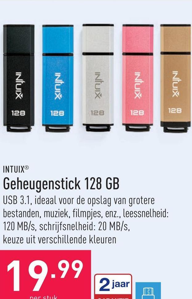 Geheugenstick 128 GB USB 3.1, ideaal voor de opslag van grotere bestanden, muziek, filmpjes, enz., leessnelheid: 120 MB/s, schrijfsnelheid: 20 MB/s, keuze uit verschillende kleuren