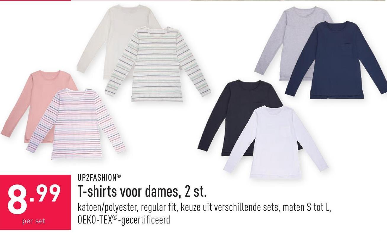 T-shirts voor dames, 2 st. katoen/polyester, regular fit, keuze uit verschillende sets, maten S tot L, OEKO-TEX®-gecertificeerd