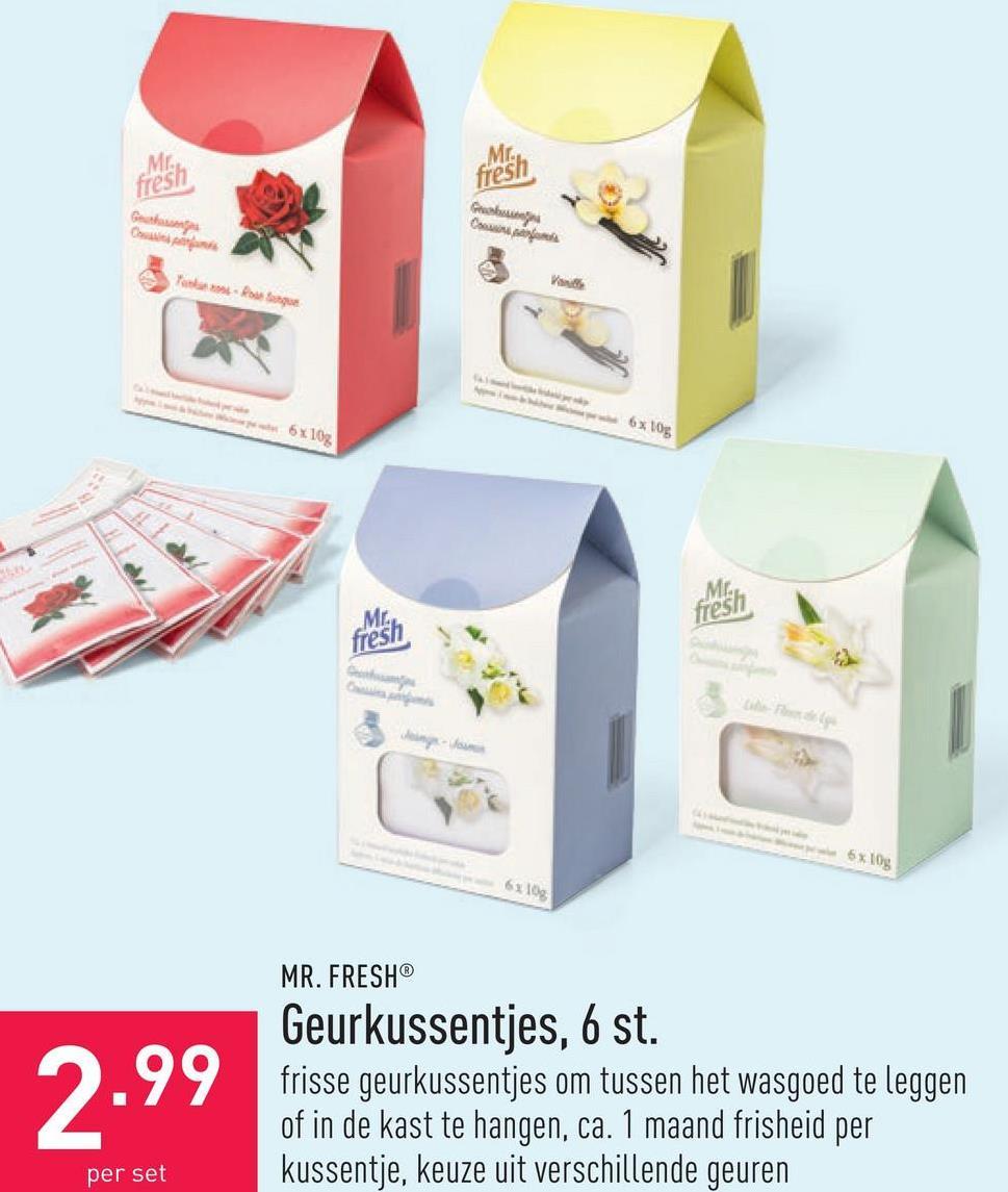 Geurkussentjes, 6 st. frisse geurkussentjes om tussen het wasgoed te leggen of in de kast te hangen, ca. 1 maand frisheid per kussentje, keuze uit verschillende geuren