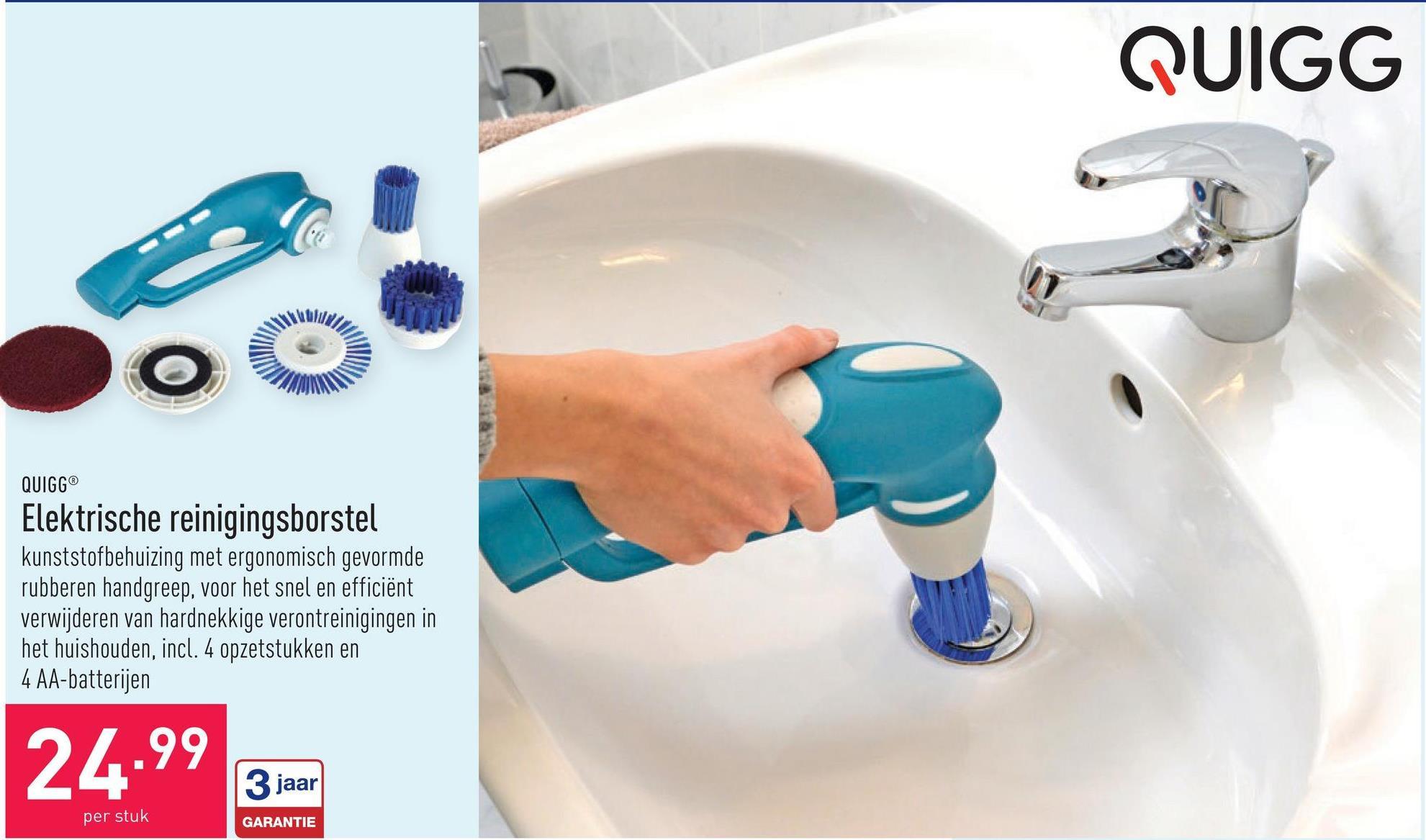 Elektrische reinigingsborstel kunststofbehuizing met ergonomisch gevormde rubberen handgreep, voor het snel en efficiënt verwijderen van hardnekkige verontreinigingen in het huishouden, incl. 4 opzetstukken en 4 AA-batterijen