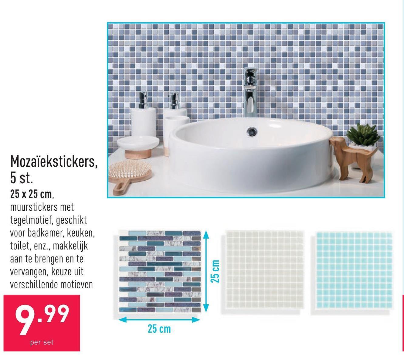 Mozaïekstickers, 5 st. 25 x 25 cm, muurstickers met tegelmotief, geschikt voor badkamer, keuken, toilet, enz., makkelijk aan te brengen en te vervangen, keuze uit verschillende motieven