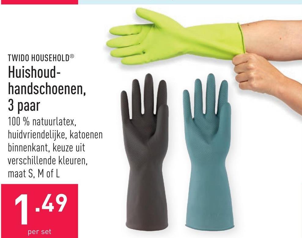 Huishoudhandschoenen, 3 paar 100 % natuurlatex, huidvriendelijke, katoenen binnenkant, keuze uit verschillende kleuren, maat S, M of L