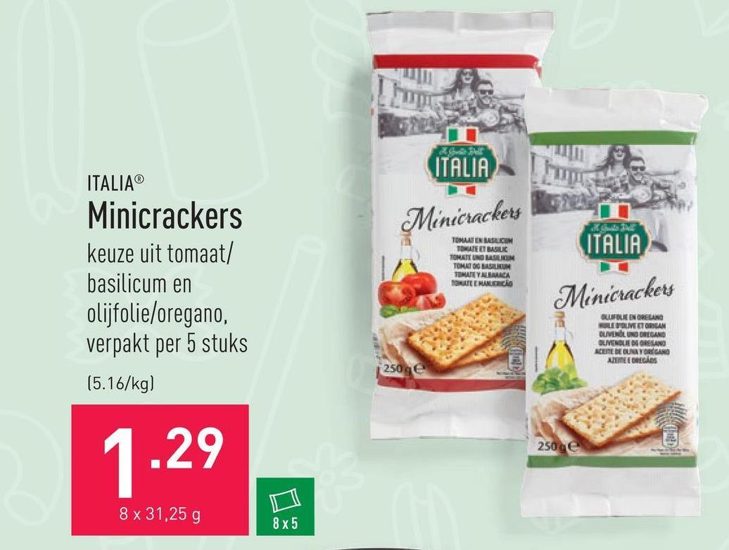 Minicrackers keuze uit tomaat/basilicum en olijfolie/oregano, verpakt per 5 stuks