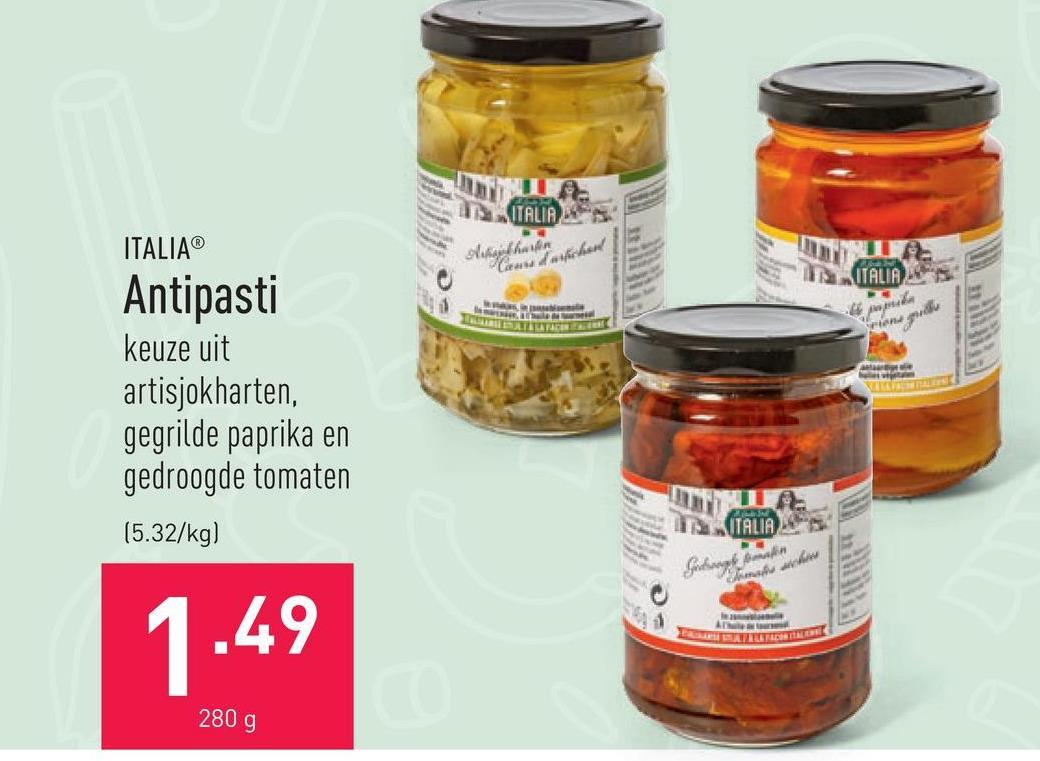 Antipasti keuze uit artisjokharten, gegrilde paprika en gedroogde tomaten