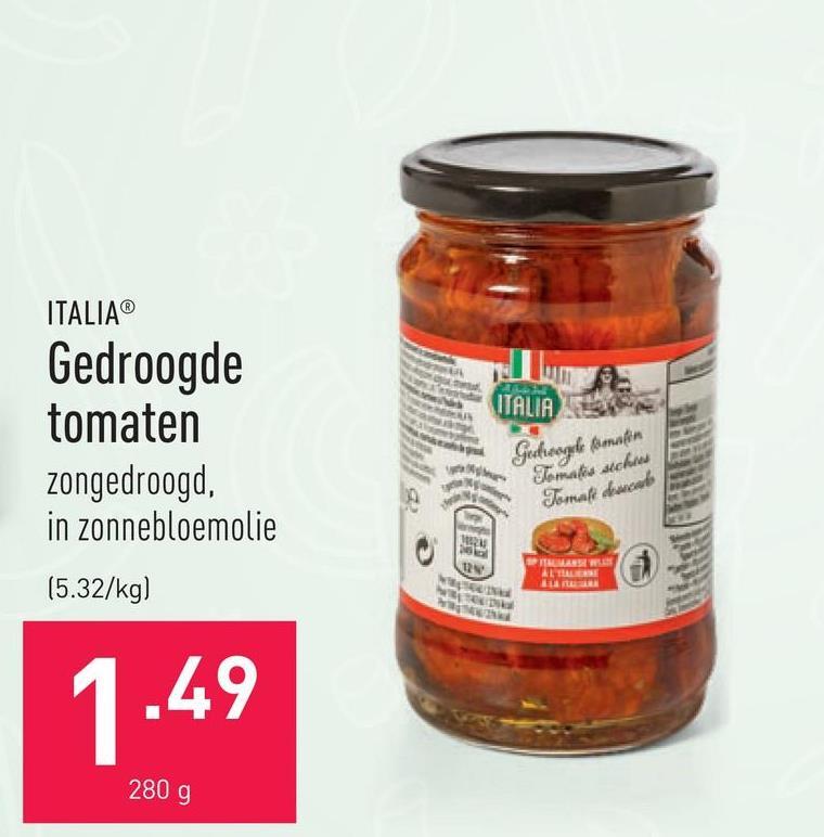 Gedroogde tomaten zongedroogd, in zonnebloemolie