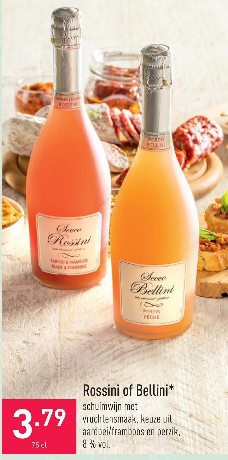 Rossini of Bellini schuimwijn met vruchtensmaak, keuze uit aardbei/framboos en perzik, 8 % vol.