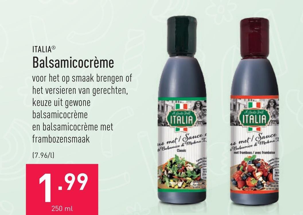Balsamicocrème voor het op smaak brengen of het versieren van gerechten, keuze uit gewone balsamicocrème en balsamicocrème met frambozensmaak