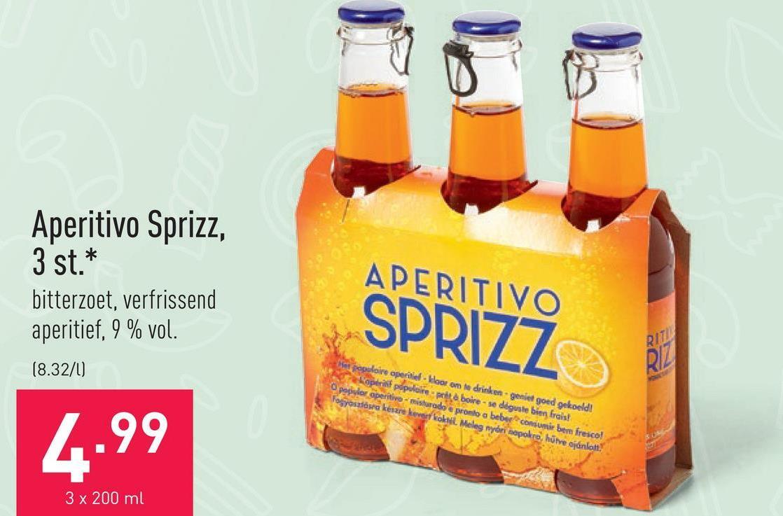 Aperitivo Sprizz, 3 st. bitterzoet, verfrissend aperitief, 9 % vol.