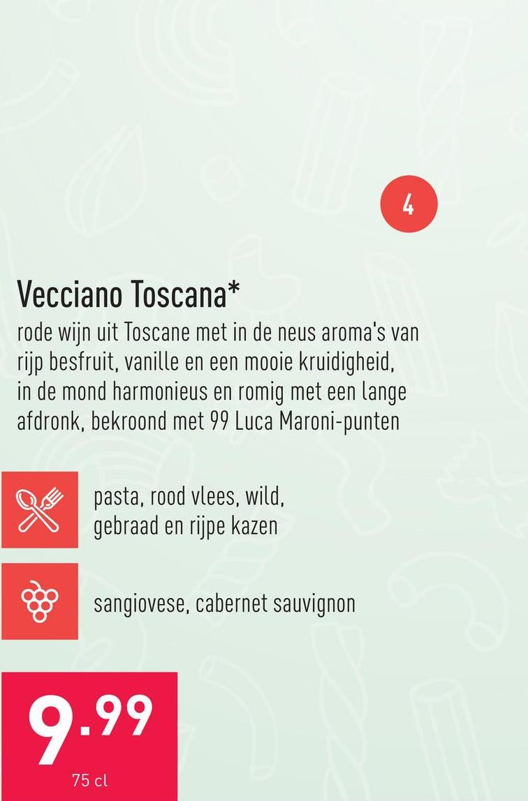 Vecciano Toscana rode wijn uit Toscane met in de neus aroma's van rijp besfruit, vanille en een mooie kruidigheid, in de mond harmonieus en romig met een lange afdronk, bekroond met 99 Luca Maroni-punten, jaargang: 2016druivensoorten: sangiovese, cabernet sauvignonaanbeveling: bij pasta, rood vlees, wild, gebraad en rijpe kazenserveertemperatuur: 18-20 °C