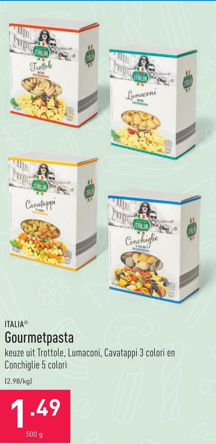 Gourmetpasta keuze uit Trottole, Lumaconi, Cavatappi 3 colori en Conchiglie 5 colori