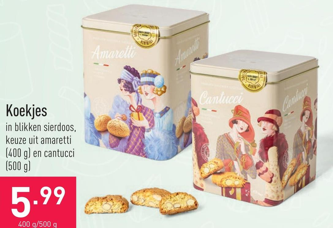Koekjes in blikken sierdoos, keuze uit amaretti (400 g) en cantucci (500 g)