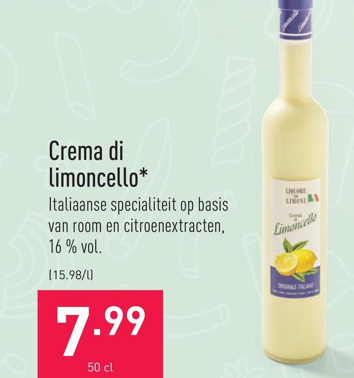 Crema di limoncello Italiaanse specialiteit op basis van room en citroenextracten, 16 % vol.
