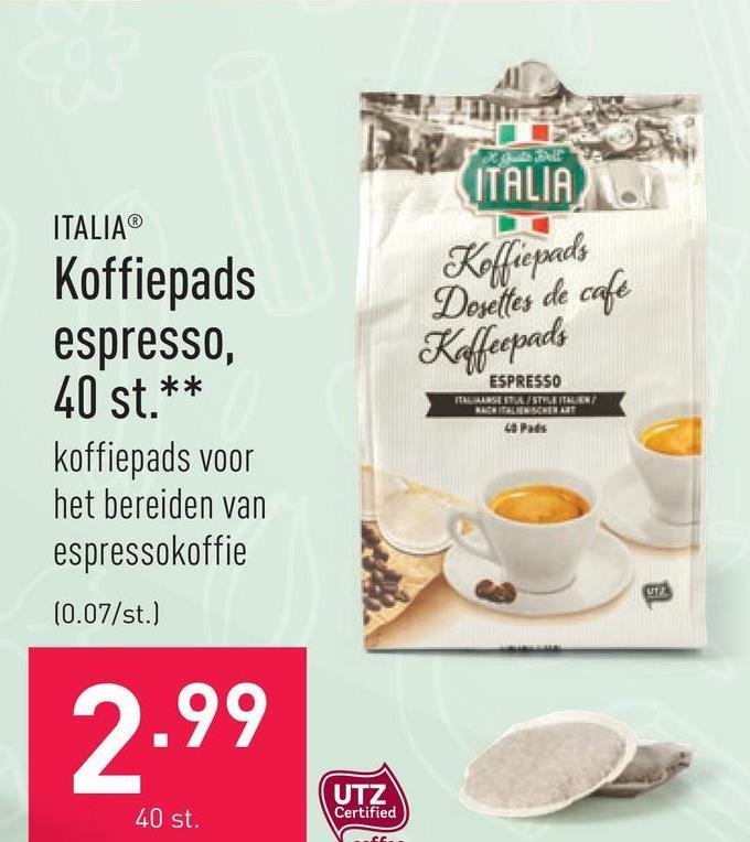 Koffiepads espresso, 40 st. koffiepads voor het bereiden van espressokoffie