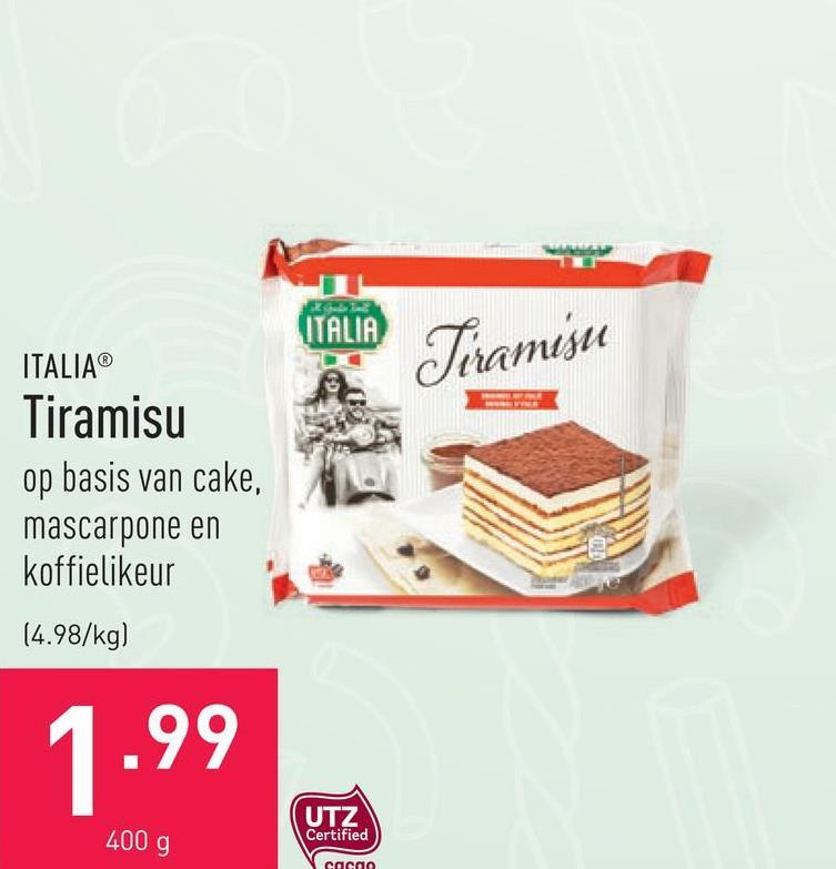 Tiramisu op basis van cake, mascarpone en koffielikeur