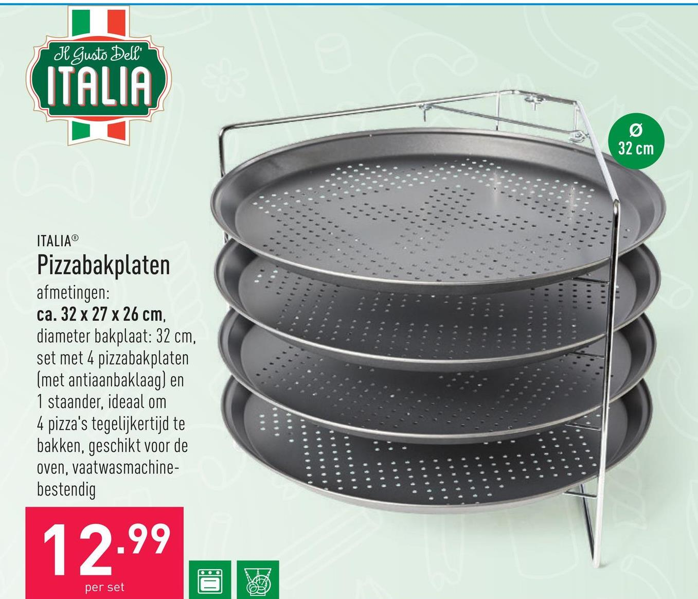 Pizzabakplaten afmetingen: ca. 32 x 27 x 26 cmdiameter bakplaat: 32 cmset met 4 pizzabakplaten (met antiaanbaklaag) en 1 staanderideaal om 4 pizza's tegelijkertijd te bakkengeschikt voor de ovenvaatwasmachinebestendig