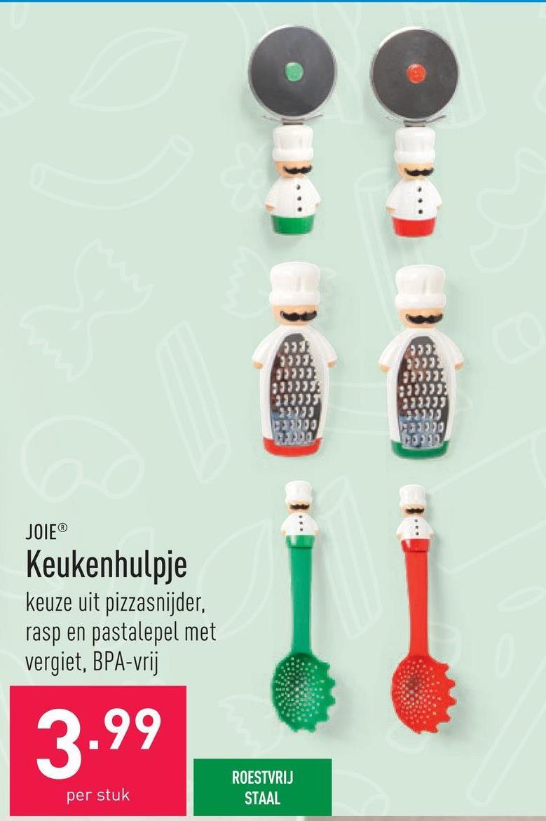 Keukenhulpje keuze uit pizzasnijder, rasp en pastalepel met vergiet, BPA-vrij