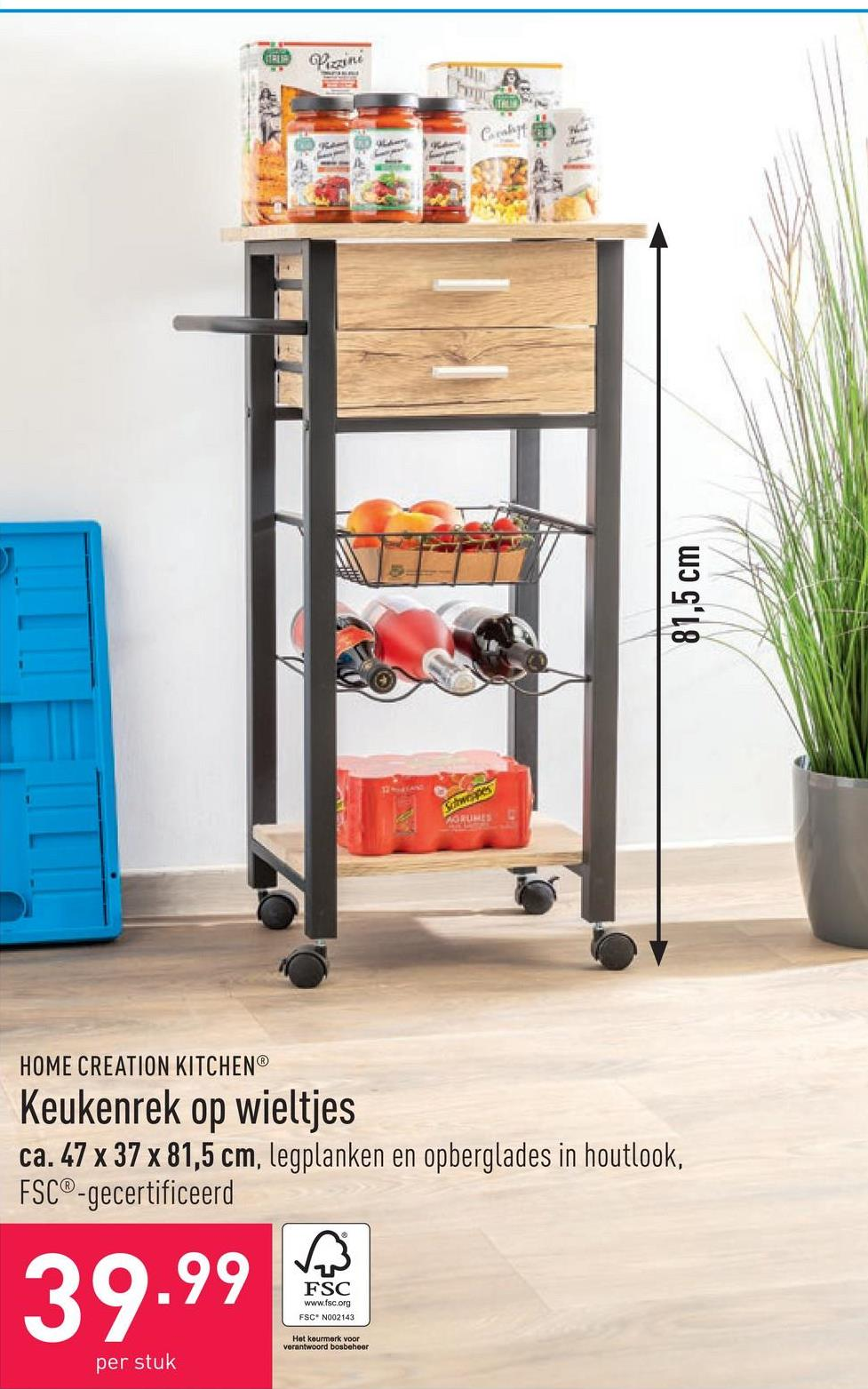 Keukenrek op wieltjes ca. 47 x 37 x 81,5 cm, legplanken en opberglades in houtlook, FSC®-gecertificeerd
