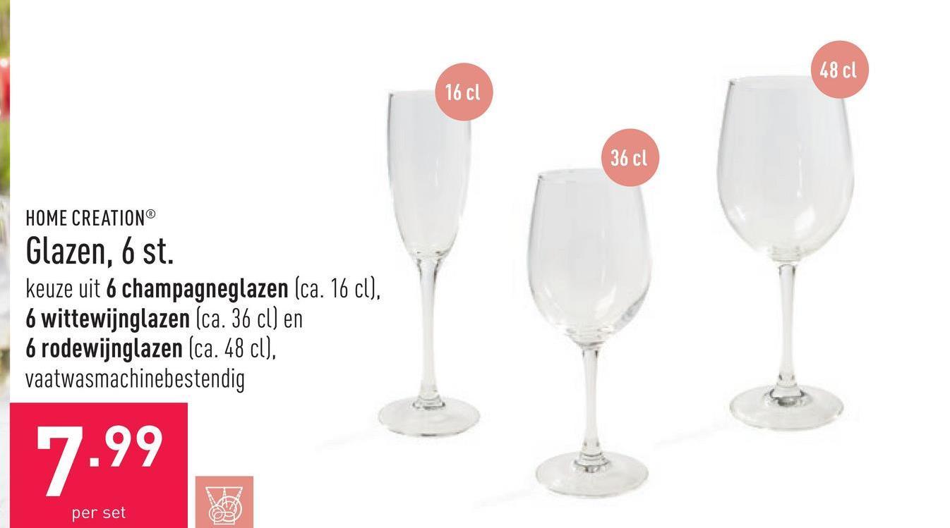 Glazen, 6 st. keuze uit 6 champagneglazen (ca. 16 cl), 6 wittewijnglazen (ca. 36 cl) en 6 rodewijnglazen (ca. 48 cl), vaatwasmachinebestendig