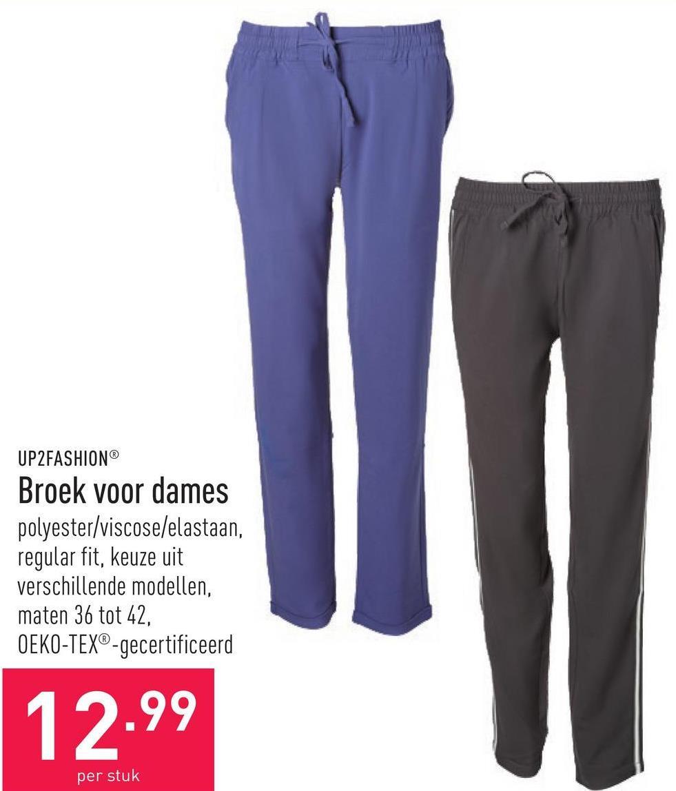 Broek voor dames polyester/viscose/elastaan, regular fit, keuze uit verschillende modellen, maten 36 tot 42, OEKO-TEX®-gecertificeerd