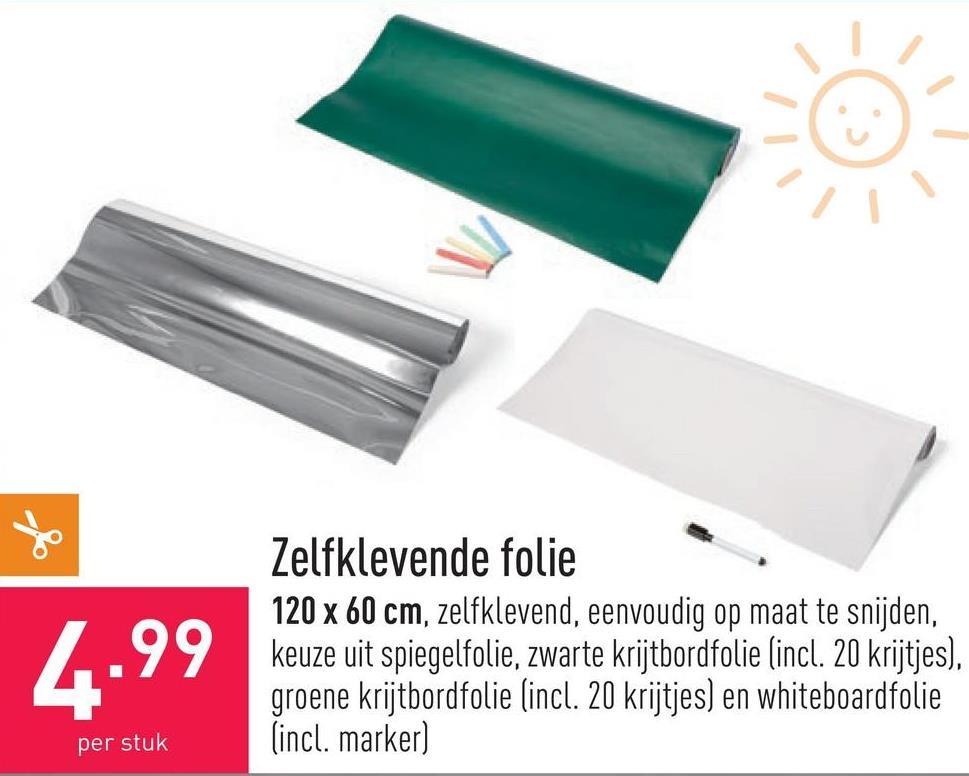 Zelfklevende folie 120 x 60 cm, zelfklevend, eenvoudig op maat te snijden, keuze uit spiegelfolie, zwarte krijtbordfolie (incl. 20 krijtjes), groene krijtbordfolie (incl. 20 krijtjes) en whiteboardfolie (incl. marker)