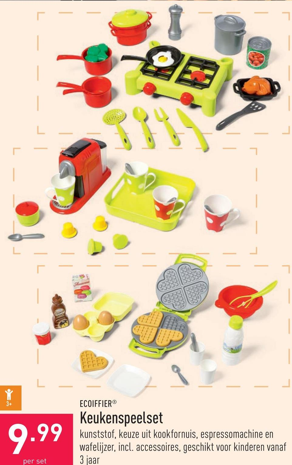 Keukenspeelset kunststof, keuze uit kookfornuis, espressomachine en wafelijzer, incl. accessoires, geschikt voor kinderen vanaf 3 jaar
