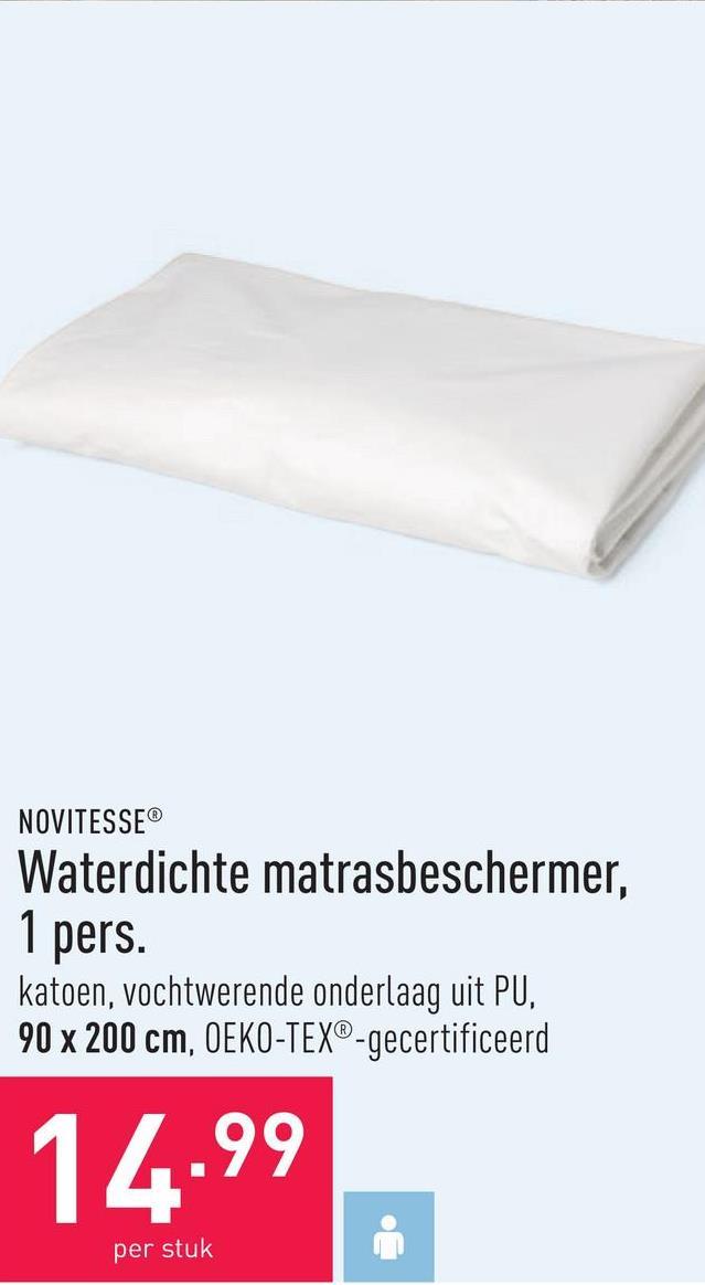 Waterdichte matrasbeschermer, 1 pers. katoen, vochtwerende onderlaag uit PU, 90 x 200 cm, OEKO-TEX®-gecertificeerd