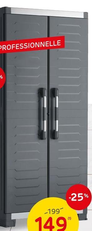 Armoire haute Keter XL Garage polypropylène noir 188x89x54cm L'armoire haute Keter XL Garage est idéale pour ranger de petits outils, mais aussi des pots de peinture ou des produits de nettoyage. Elle trouvera sa place idéalement dans votre garage ou votre buanderie. Ses atouts ? Elle dispose de 3 tablettes réglables en hauteur, possède une charge maximale de 45 kg par tablette, et est munie de charnières métalliques. L'avantage est également qu'elle possède peut être sécurisée et fermée à l'aide d'un cadenas (cadenas non inclus). Idéal pour la sécurité des enfants ! Ce meuble est doté de 4 pieds réglable ainsi que d'un pied central pour encore plus de stabilité.