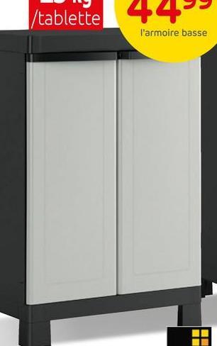 Armoire multifonctions Sencys polypropylène gris / noir 182x65x45cm L'armoire multifonctions de Sencys est idéale pour ranger de petits outils, mais aussi des pots de peinture ou des produits de nettoyage. Elle trouvera sa place idéalement dans votre garage ou votre buanderie. Ses atouts ? Ses 3 tablettes sont réglables en hauteur, idéal pour optimaliser vos espaces de rangement. Elle est également cadenassable (cadenas non inclus). Idéal pour la sécurité des enfants ! La charge maximale par tablette est de 25 kg et offre donc une résistance aux charges lourdes. Vous pouvez également stocker vos outils de jardin, grâce à un espace de stockage approprié dans ce meuble.