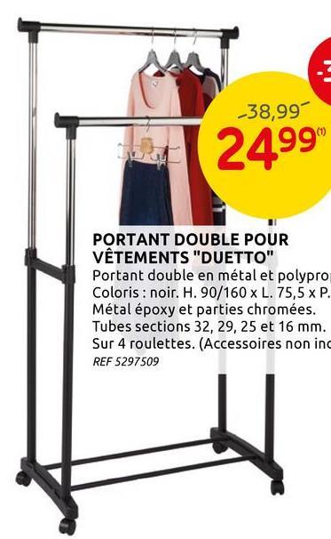 Portant pour vêtements double 'Duetto' 90x79,5x43cm Ce portant pour vêtements reste la solution rapide et efficace pour un rangement optimal de vos vêtements. Cet élément est facile à assembler ainsi qu'à déplacer, et convient pour les endroits humides, comme la salle de bains.