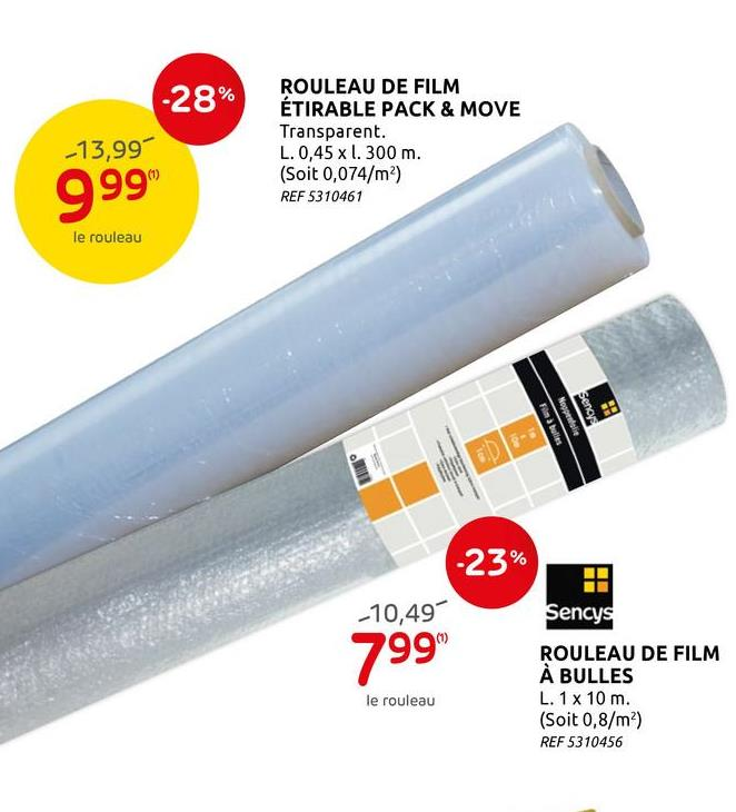 Rouleau de film étirable Pack & Move transparant 45cmx300m Ce film étirable de Pack & Move vous permet de emballer, regrouper et protéger vos affaires.
