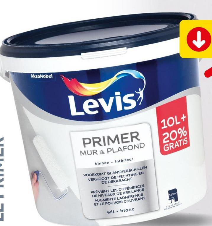 Primer mur et plafond Levis blanc 12 L Ce primer blanc de Levis est une peinture de fond ultra couvrante pour une préparation optimale des murs intérieurs et des plafonds de couleur foncée ou de différentes matières, tels que la maçonnerie, le béton, le plâtre, le placo, les couches de peinture à l'eau existantes. Ce primer permet une égalisation des différences de couleur, et une adhérence optimale sur les finitions. Cette peinture s'applique facilement et vous assure un résultat optimal tout en limitant les éclaboussures et les odeurs.