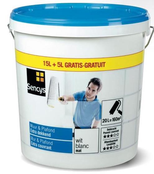 Mur & Plafond Sencysextra couvrant mat blanc 20L Soyez gagnant avec Mur & Plafond Sencys. La peinture en phase aqueuse pour murs et plafonds permet d'obtenir un bon résultat à un prix avantageux. Elle est idéale pour une rénovation rapide des pièces à vivre. Cette peinture blanche facile à appliquer possède un rendement élevé et est respirante. Utilisez-la sur la maçonnerie, le béton, le crépi, les plaques de plâtre, le papier peint et les anciennes couches de peinture à base d'eau.