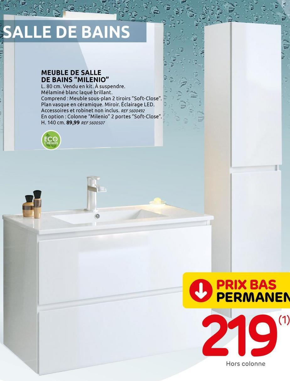 Meuble de salle de Bains T-Bath Milenio mélaminé blanc brillant 80cm Vous aménagez votre nouvelle salle de bains ou vous voulez la remettre entièrement à neuf ? Dans ce cas, le set de meuble de salle de bain à suspendre T-Bath Milenio de 80 cm est ce qu'il vous faut. Le mobilier fabriqué en panneaux mélaminés 16 mm blanc laqué brillant illuminera votre pièce d'eau tout en amenant une belle capacité de rangement. <br><br> Le meuble sous-lavabo à suspendre libère de la place au sol en dévoilant un espace de rangement supplémentaire. Celui-ci facilité également le nettoyage hygiénique de votre pièce. Fini les tiroirs qui claquent ! Equipé de la technologie de fermeture douce, le meuble bas dispose de 2 tiroirs qui se ferment toujours en silence. Le design sans poignée avec des bords biseautés offre un look dans l'air du temps au meuble de rangement. De plus, l'intérieur du tiroir supérieur dispose d'un compartiment pour petits accessoires. Le meuble bas mesure en tout 81 cm de large, 62 cm de haut avec une profondeur de 46 cm. La hauteur optimale conseillée pour le placement du meuble du sol jusqu'au plan lavabo est de 85 cm. <br><br> Ce set complet à assembler comprend 3 éléments. Le meuble sous-lavabo à tiroirs mais également un plan vasque simple blanc brillant en céramique et ajusté aux dimensions du meuble dessous. Le miroir rectangulaire entouré de 2 bords blancs est muni d'une applique murale LED incluse. <br><br> Gain de place et esthétisme assuré, l'ensemble de meuble de salle de bains est un bon choix pour contenir toutes vos affaires de toilettes. Besoin de plus d'espace de rangement ? Il existe également en option une colonne de la même série Milenio. Celle-ci est également disponible dans notre catalogue en ligne. Attention, le robinet n'est pas inclus.