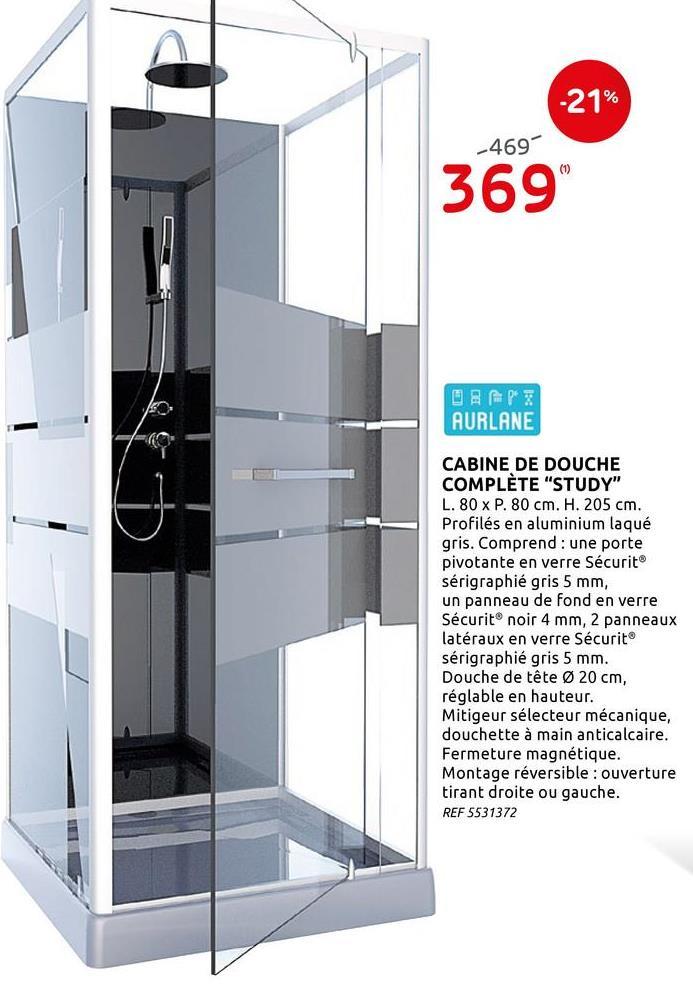 Cabine de douche Aurlane Study 80x80cm Cette magnifique cabine de douche Study d'Aurlane possède une douchette à main anticalcaire ainsi qu'une douche de tête anticalcaire qui permet de profiter d'une pluie d'eau agréable et enveloppante. L'ensemble est robuste et constitué par un fond en verre Sécurit® 4 mm de couleur noir: une porte pivotante ainsi qu'une parois et 2 panneaux latéraux, tous en verre avec bande sérigraphiée Sécurit® 5 mm. Le profilés est en aluminium gris. Le mitigeur mécanique, le flexible, le receveur en acrylique gris renforcé, la fermeture magnétique, la bonde chromée et la poignée porte-serviette (réglable en hauteur) sont inclus. Montage réversible : ouverture tirant à droite ou à gauche. La cabine de douche possède une hauteur sous la tête de douche de 190 à 200 cm.