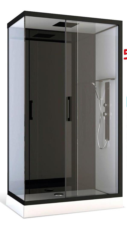 Cabine de douche Aurlane 'Pozzy 3' 110 x 80 cm La cabine de douche complète 'Pozzy 3' de la marque Aurlane possède un très beau design grâce à ses panneaux de fonds en verre blanc et noir avec le toit en verre blanc et la tête de douche multi jets. Le panneau d'hydromassage multi jets en aluminium et un receveur blanc acrylique. Les profilés sont de couleur noir mat ainsi que la grande poignée allongée. La douchette à main est muni d'un flexible en PVC noir. Montage sans silicone