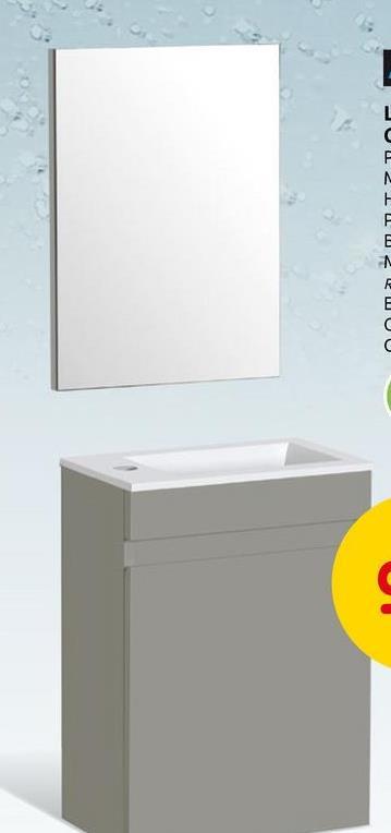 Lave-mains Aquazuro Napoli chêne gris 40cm Le meuble de toilette complet Napoli d'Aquazuro convient à chaque style. Ce meuble en chêne gris fait 40 cm de large est pré-monté et se compose du sous-meuble, lavabo et miroir.