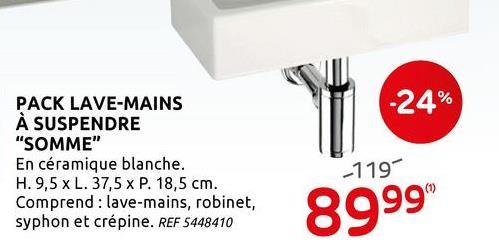 Lave-mains AquaVive Somme céramique blanc 37,5cm Complétez votre toilette avec le pack lave-mains en céramique AquaVive Somme! Avec robinet, siphon et bouchon de vidange. Le matériau de montage convient aux murs en béton massif d'une épaisseur minimale de 10 cm.
