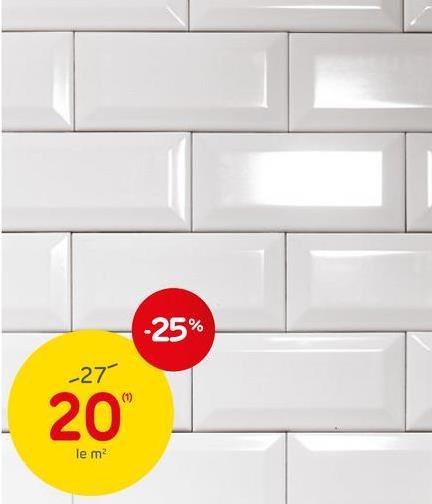 Carrelage mural 'Metro' blanc 7,5 x 15 cm Le carrelage mural blanc en faïence émaillée 'Metro' est idéal pour dans une cuisine ou salle de bains. La faïence est un matériau d'une grande valeur esthétique mais plus fragile par rapport à d'autres types de mélanges céramiques. Cela ne l'empêche pas d'être résistant à l'usure et facile d'entretien. La faïence est donc idéale pour la décoration des murs intérieurs. Grâce à sa couleur blanche brillante, le carrelage réfléchit la lumière, amenant de la luminosité dans vos petites pièces.