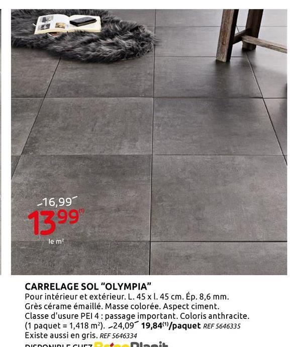 Carrelage sol et mur Olympia anthracite 45x45cm Envie de donner un nouveau look à votre intérieur&nbsp;? Le carrelage pour sol et mur Olympia est ce qu'il vous faut. Les carreaux sont en anthracite et mesurent 45 sur 45 cm et 8,5 mm d'épaisseur. Ils couvrent une superficie de 1, 418 m². <br> <br> Les carreaux de céramique Olympia donneront à votre sol ou mur une touche moderne. Le dallage est résistant au gel.