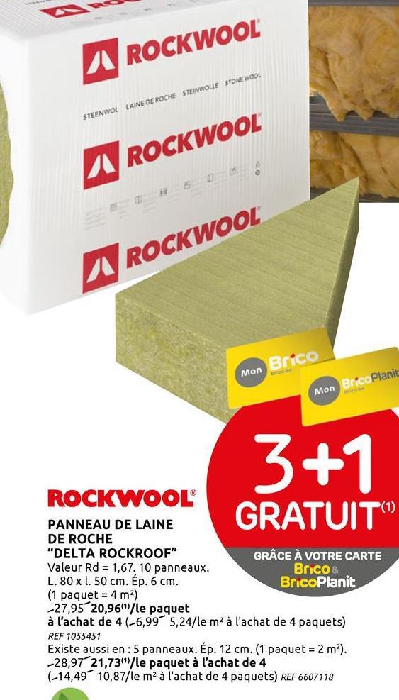 Panneau d'isolation Rockwool 'Delta Rockroof' 80 x 50 x 6 cm - 10 pcs Ces panneaux d'isolation semi-rigide 'Delta' de Rockwool sont en laine de roche, coupés le long de la diagonale en deux triangles égaux. Idéal pour l'isolation thermique des toitures. Le pack comprend 10 pièces.