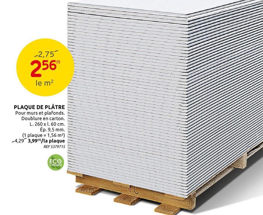 Plaque de plâtre Siniat 'HRAK' 260 x 60 cm x 9,5 mm Cette plaque de plâtre de Siniat est idéale pour poser des cloisons et plafonds. Elle se monte facilement et ne demande aucun renfort dans la structure du bâtiment grâce à l'ossature en métal ou en bois sur laquelle on vient la placer. Il en existe deux sortes : les plaques blanches classiques et les plaques vertes hydrofuges pour les endroits humides. Les bords amincis rendent les joints invisibles.