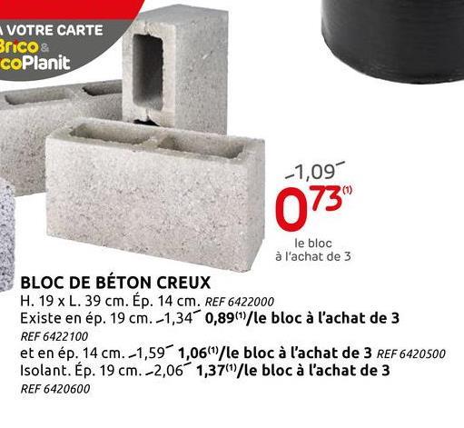 Bloc béton standard 39x14x19 creux Bloc de béton gris standard, creux, de 39x14x19 cm (sur europalette), pour toutes les maçonneries portantes et non portantes, à lintérieur et à lextérieur. Ce bloc de béton répond aux exigences de qualité strictes du label BENOR. Pour les informations techniques, nous vous renvoyons à la fiche technique disponible sur notre site Web.